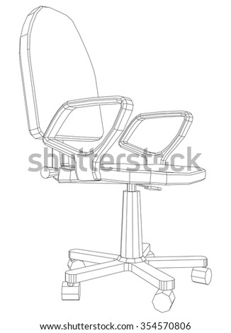 Illustration of chair on white background, vector