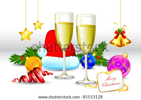 illustration of champagne glass with santa cap and christmas decoration - stock vector