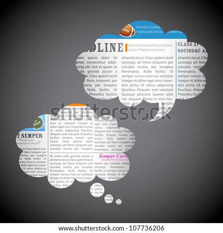 illustration of chat bubble made of scrap news paper - stock vector