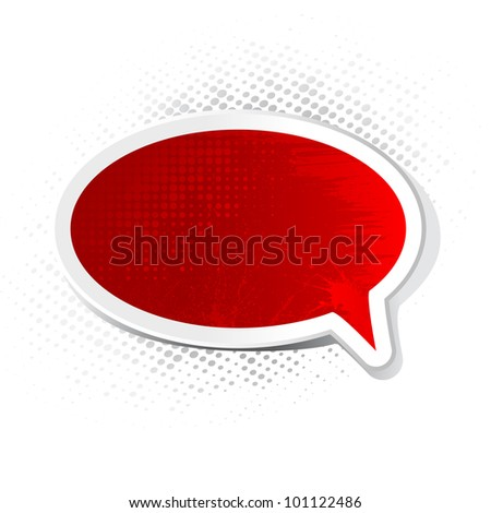 illustration of chat bubble with grungy texture - stock vector