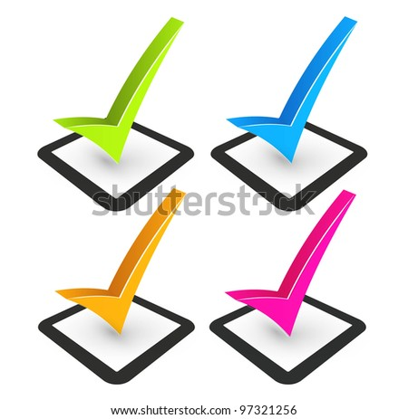 illustration of check mark and check box - stock vector