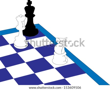 illustration of chess piece on chess board  - stock vector