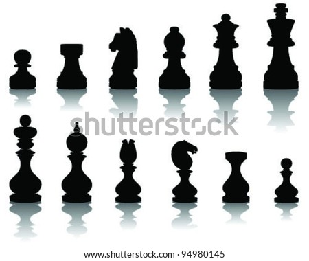 illustration  of chess pieces, vector - stock vector