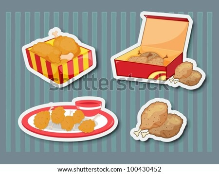 Illustration of chicken foods as stickers - stock vector