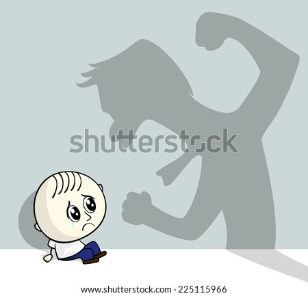 illustration of child abuse with little child sitting on the ground and aggressive shadow on the wall - stock vector