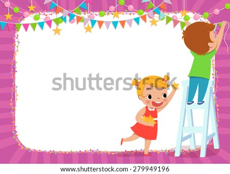 illustration of children decorating for a party - stock vector