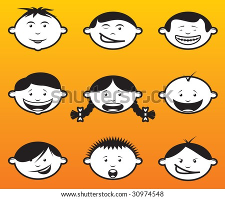 Illustration of children faces / heads in different emotions. - stock vector