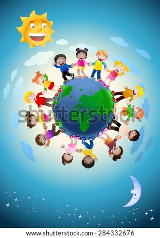 illustration of children holding hands surrounding the globe, symbolizing world unity and peace isolated on white background  - stock vector