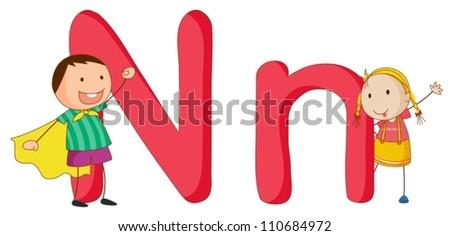 Illustration of children in a letter of alphabet - stock vector