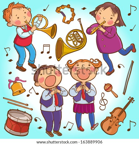 Illustration of Children playing Musical instruments. SET. Children illustration for School books, pictures book, magazines, advertising and more. Separate Objects. VECTOR. - stock vector