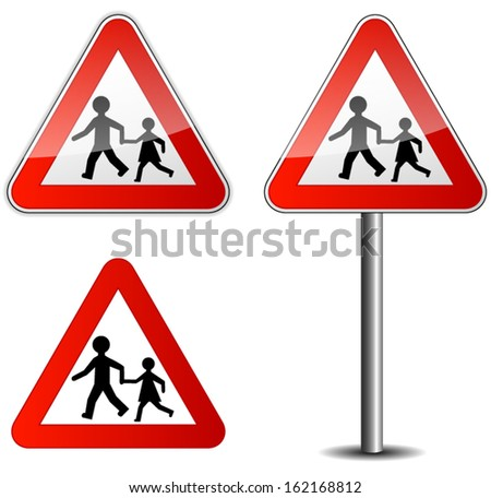 Illustration of children roadsign on white background - stock vector