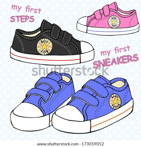 illustration of children's cute sneakers without shoelace (classic design) with embroidery and inscription. - stock vector