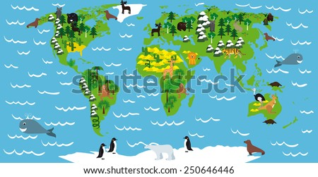 illustration of children's maps with continents, oceans, animals and plants