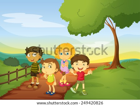 Illustration of children standing on the trail - stock vector
