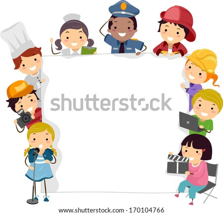 Illustration of Children Wearing the Costumes of the Professionals They Want to Become in the Future - stock vector
