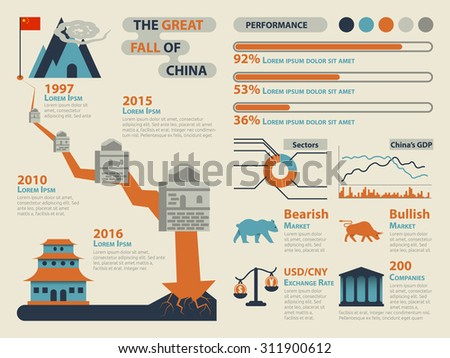 Illustration of China's Stock Market Down Infographic Elements - stock vector