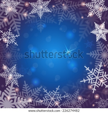Illustration of Christmas background with snowflakes in blue and white colors