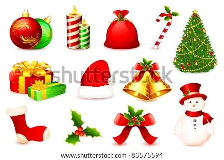 illustration of christmas ball,tree,bell,santa cap and snow man - stock vector