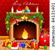 illustration of christmas decoration around fire place - stock photo