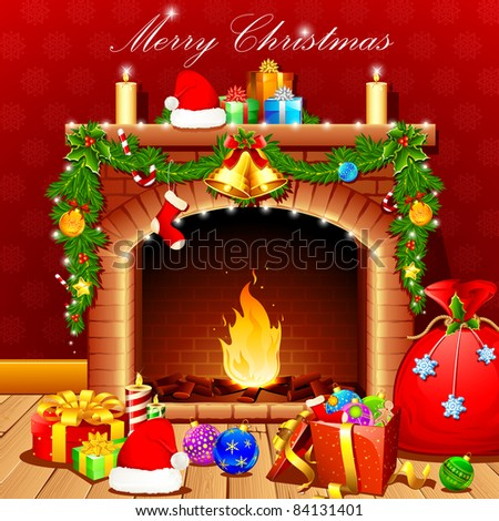illustration of christmas decoration around fire place - stock vector