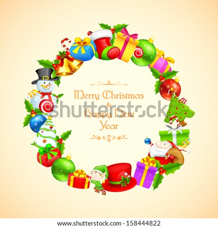 illustration of Christmas decoration with gift and bell - stock vector