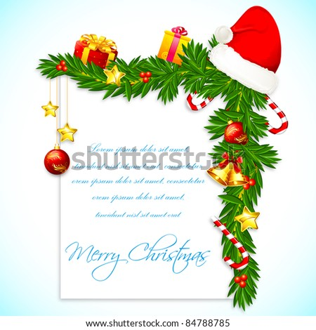 illustration of christmas decoration with santa cap and bell on pine needle - stock vector