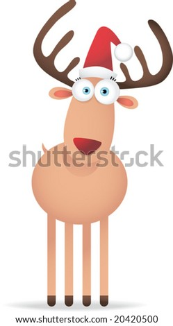 Illustration of Christmas Deer with Big Eye - stock vector