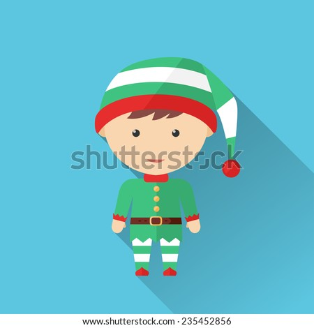 Illustration of Christmas elf, the icon is made in a flat design. - stock vector