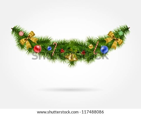 Illustration of Christmas garland with decorations - stock vector