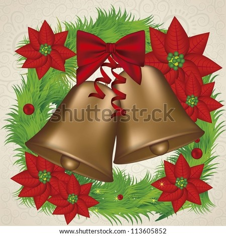 illustration of christmas golden bells with red ribbon in a wreath, vector illustration - stock vector