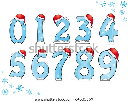 Illustration of Christmas/New Year numbers - stock vector