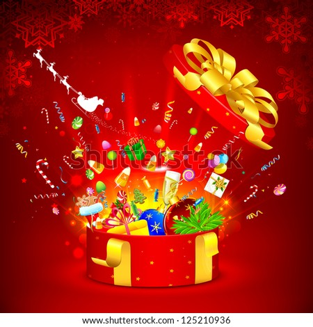 illustration of Christmas object coming out of open gift - stock vector