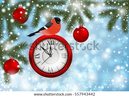 Illustration of Christmas or New Year decoration with bullfinch bird, clock, balls, fir tree branches and snowflake background