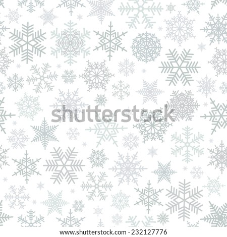 Illustration of Christmas pattern with snowflakes isolated  - stock vector