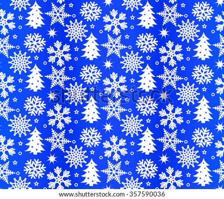 Illustration of Christmas pattern with white snowflakes on blue background. Vector image - stock vector