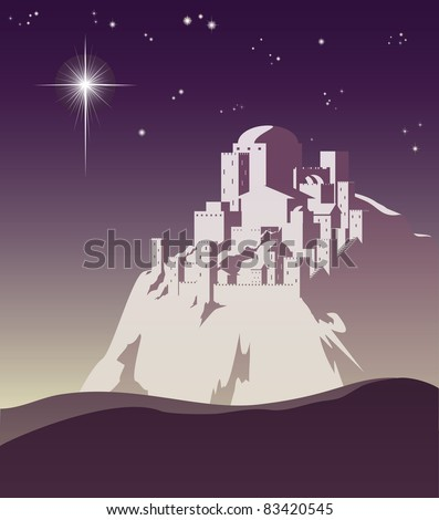 Illustration of Christmas star over Bethlehem announcing the birth of Jesus - stock vector