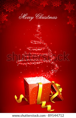 illustration of christmas tree forming form star coming out of gift box - stock vector