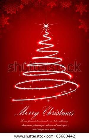 illustration of christmas tree made of sparkling star - stock vector