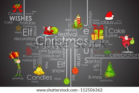 illustration of CHristmas typography background with element - stock vector
