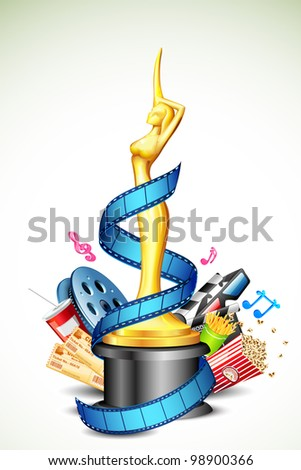 illustration of cinema award with film stripe and other movie object - stock vector