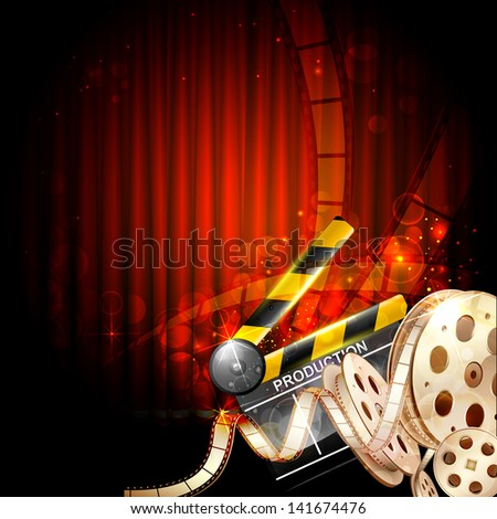 illustration of Cinema background with clapper board and film reel - stock vector