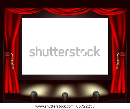 Illustration of cinema screen, lights and curtain - stock vector