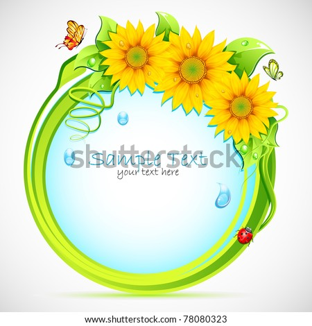 illustration of circle with sunflower frame and butterfly - stock vector