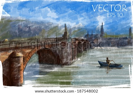 Illustration of city bridge. Watercolor style.  - stock vector