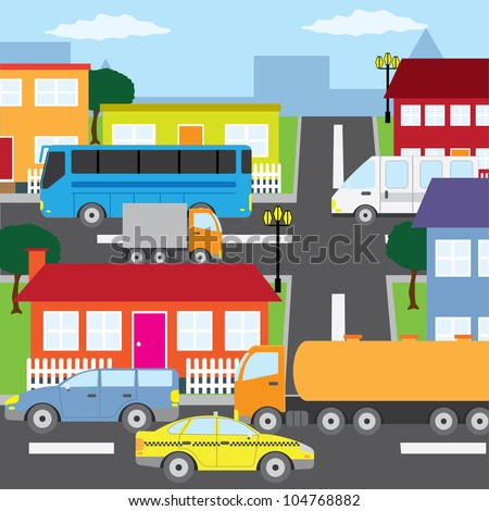 Illustration of city, houses and vehicles in sunny day. - stock vector