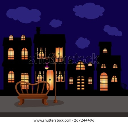 illustration of city scape dark night with empty branch and street lamp - stock vector