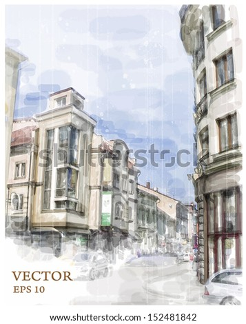 Illustration of city street. Watercolor style. - stock vector