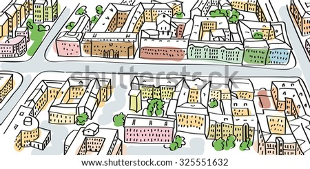 Illustration of city streets perspective. Buildings and crossroads, top view. - stock vector