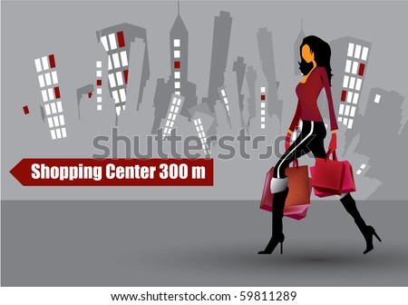 illustration of city woman - stock vector