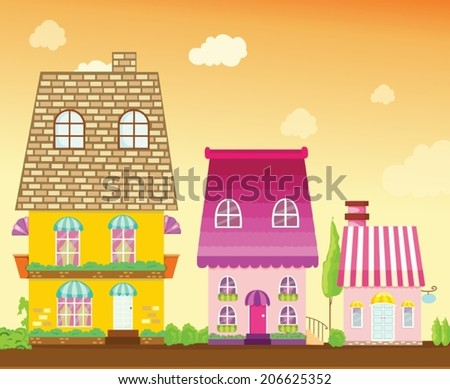 illustration of  cityscape city house on sunset background - stock vector